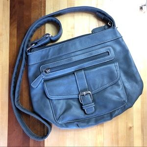 Croft & Barrow | Blue Gray Crossbody Leather Purse